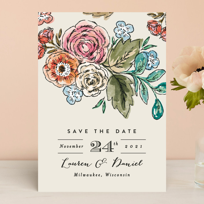 """Dramatic Floral Date"" - Save The Date Cards in Daytime Brights by Alethea and Ruth."