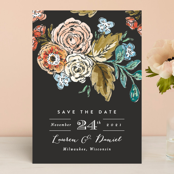 """""""Dramatic Floral Date"""" - Save The Date Cards in Daytime Brights by Alethea and Ruth."""