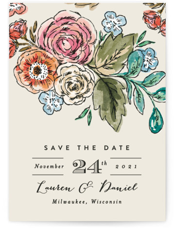 This is a portrait botanical, colorful, pink Save the Dates by Alethea and Ruth called Dramatic Floral Date with Standard printing on Signature in Classic fold over (blank inside) format. Dramatic hand drawn florals are the focus of this save ...