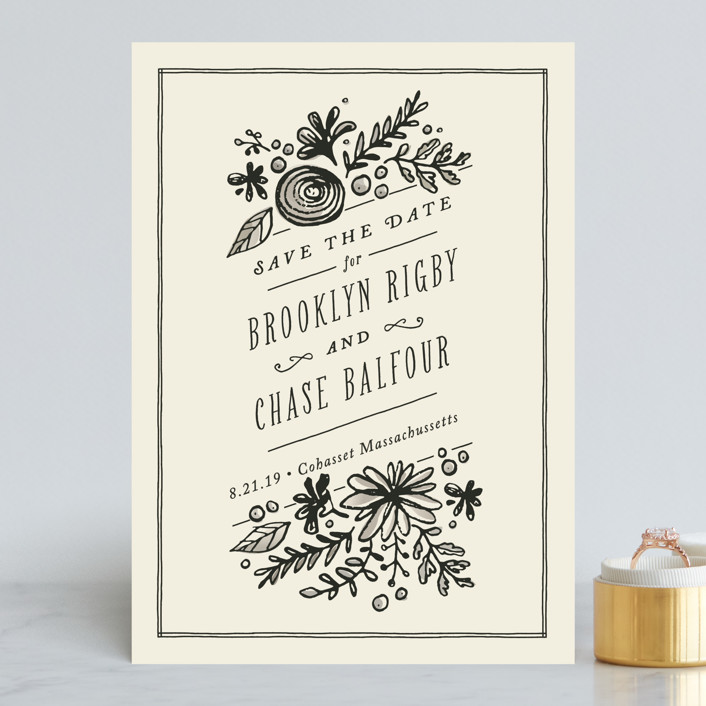 """English Garden"" - Rustic Save The Date Cards in Cream by Jennifer Wick."
