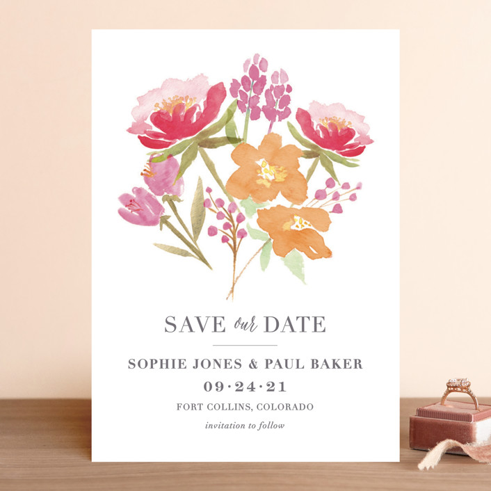 """Floral Bouquet"" - Save The Date Cards in Petal by Laura Bolter Design."