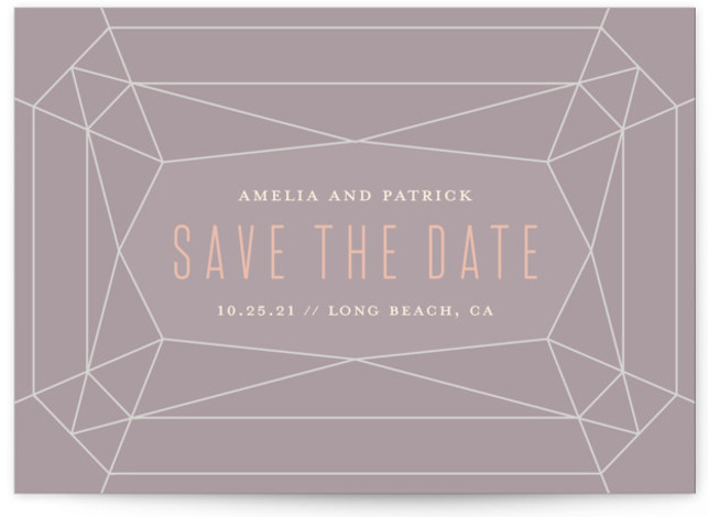 This is a landscape modern, purple Save the Dates by Rebecca Bowen called Geode with Standard printing on Signature in Classic Flat Card format. Geometric gemstone