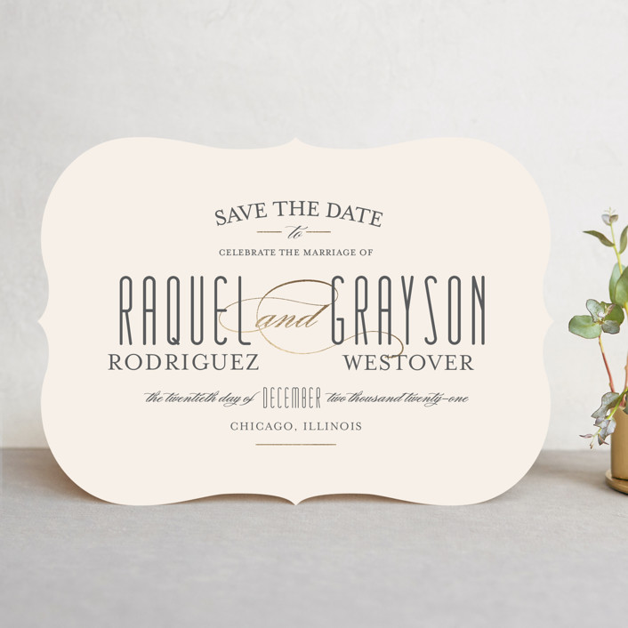 """""""Hyde Park"""" - Save The Date Cards in Soft Ivory by Little Words Design."""