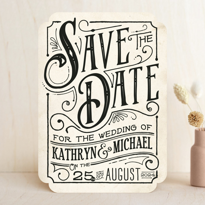"""Inked"" - Rustic Save The Date Cards in Parchment by GeekInk Design."