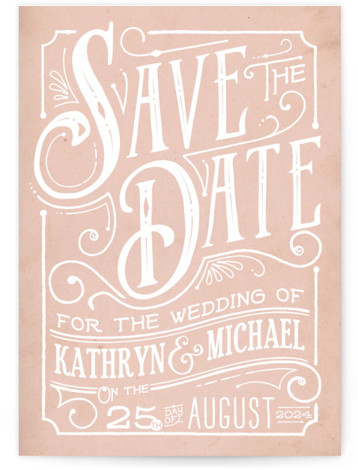 This is a portrait rustic, pink Save the Dates by GeekInk Design called Inked with Standard printing on Signature in Classic Flat Card format. Unique type and hand drawn flourishes in an ink pen style give this save the date ...