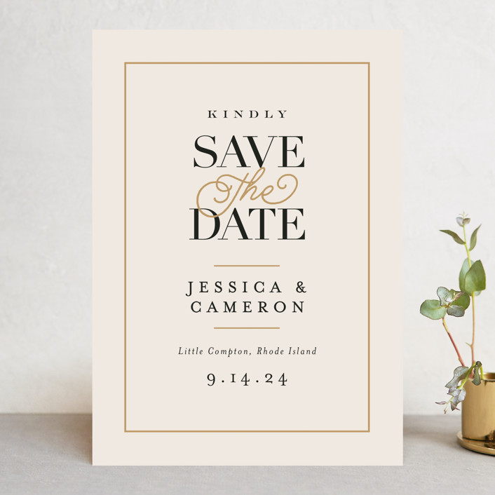 """""""Ivory Details"""" - Save The Date Cards in Smoke by Jennifer Wick."""