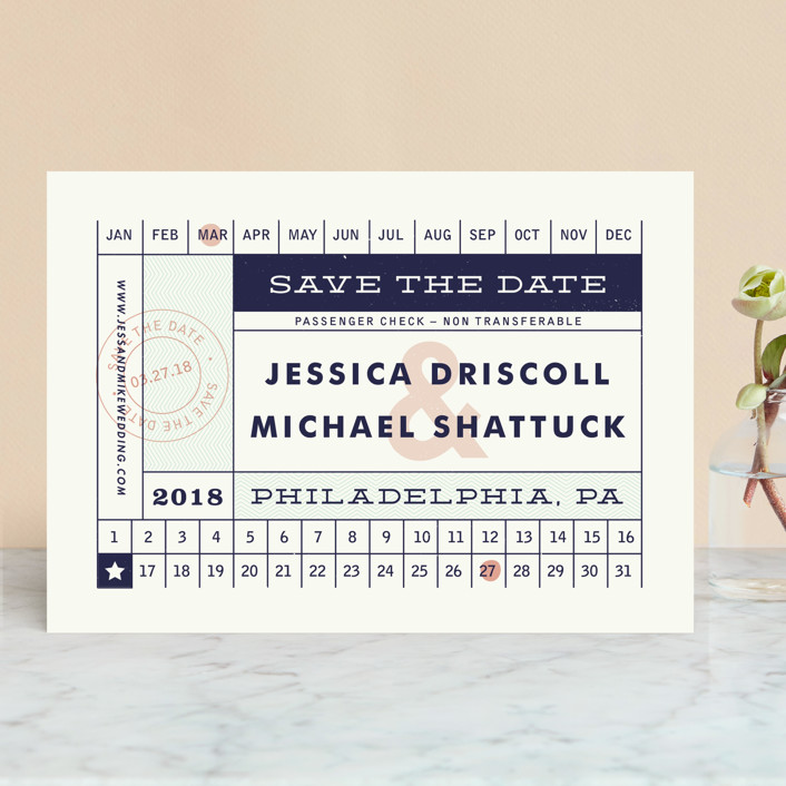 """Just The Ticket"" - Save The Date Cards in Navy by Paper and Parcel."