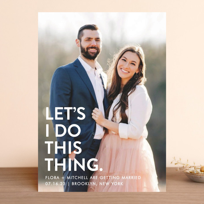 """Let's I Do This Photo"" - Save The Date Cards in Snow by Ellis."