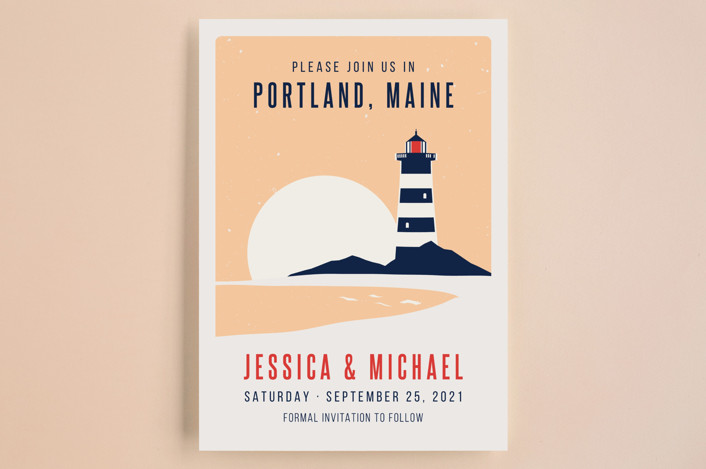 """Lighthouse Maine"" - Save The Date Cards in Sea by Kampai Designs."
