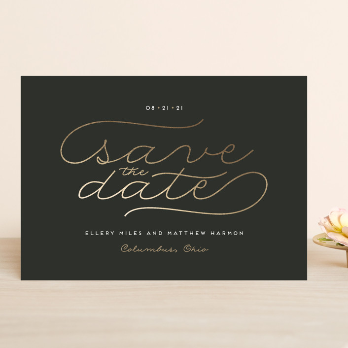 """Modern Metal"" - Modern Save The Date Cards in Slate by Cheer Up Press."