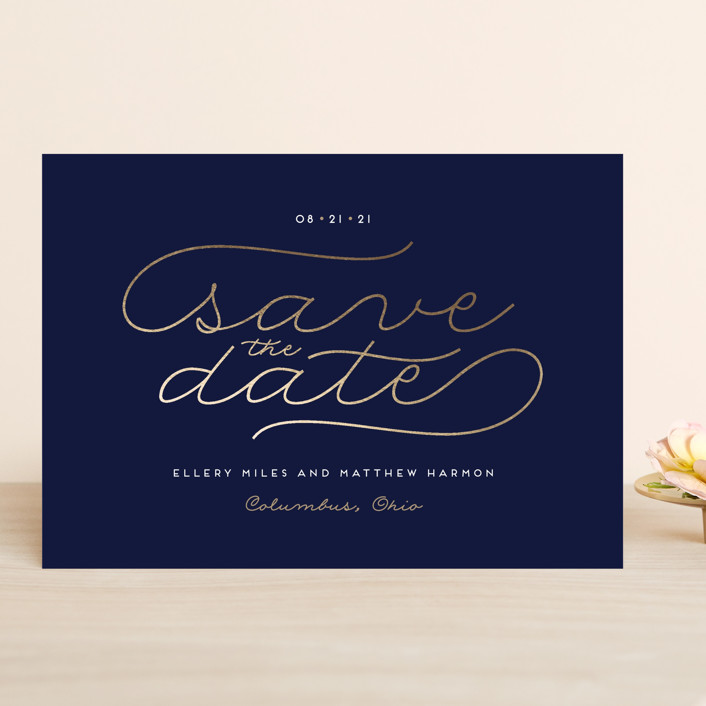 """""""Modern Metal"""" - Modern Save The Date Cards in Navy by Cheer Up Press."""