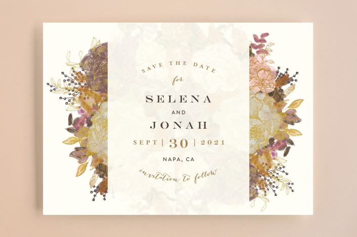 """Floral Runner"" - Save The Date Cards in Gold Leaf by Phrosne Ras."