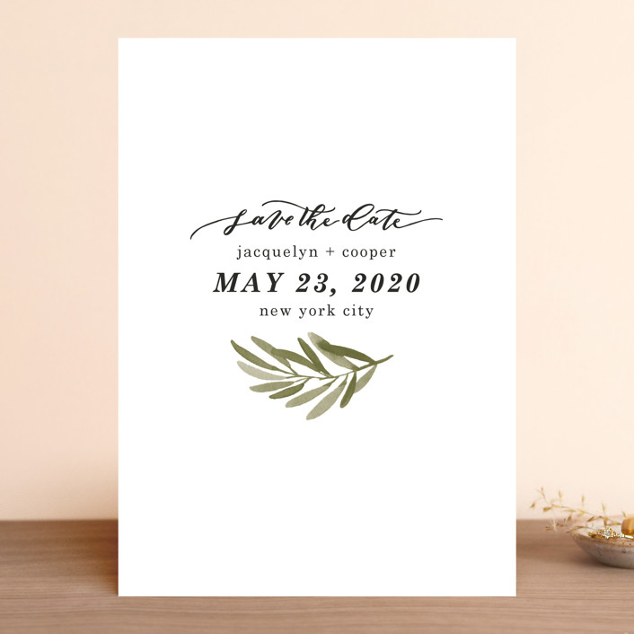 """""""Olive Branch"""" - Save The Date Cards in Olive by Wildfield Paper Co."""