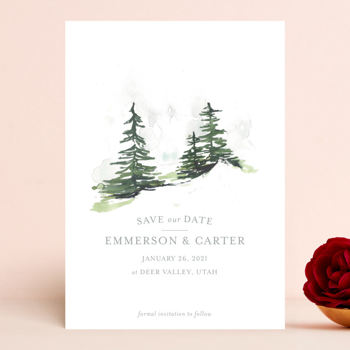 """""""On the Slopes"""" - Save The Date Cards in Fog by Mere Paper."""