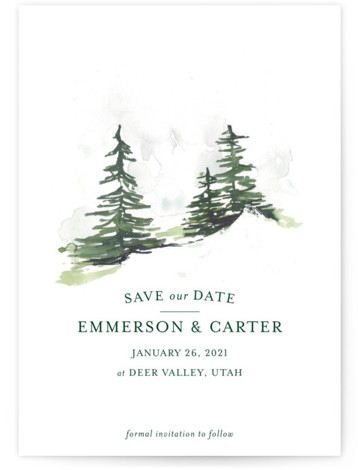 This is a portrait illustrative, green Save the Dates by Mere Paper called On the Slopes with Standard printing on Signature in Classic Flat Card format. A watercolor snow covered evergreen landscape for the winter destination wedding.
