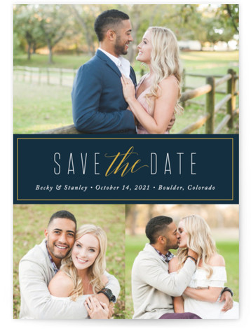 This is a landscape, portrait classic and formal, simple, blue Save the Dates by Jessica Williams called Opulent with Standard printing on Smooth Signature in Classic Flat Card format. This save the date features a modern layout with three photos. ...