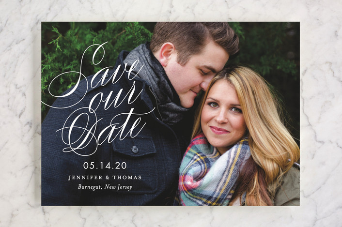 """Perfectly Stated"" - Save The Date Cards in Snow by Sandra Picco Design."