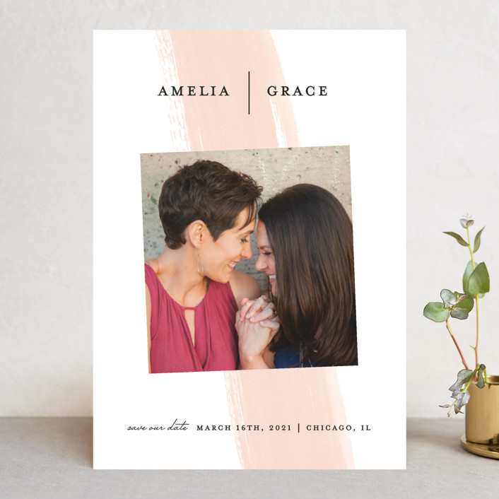 """""""Single Swath"""" - Save The Date Cards in Blush by Angela Marzuki."""