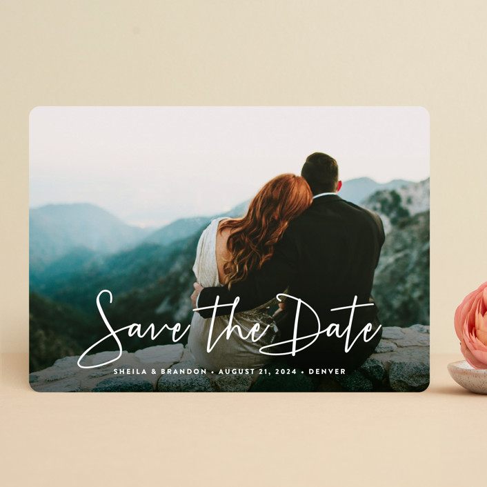 """""""Stylish Script"""" - Full-Bleed Photo, Modern Save The Date Cards in Cloud by Hooray Creative."""