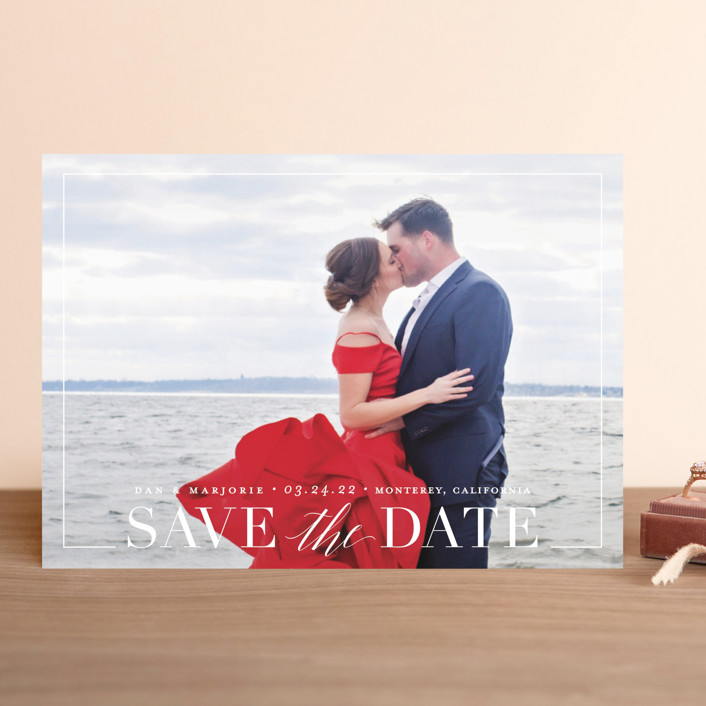 """Swell"" - Save The Date Cards in Cotton by Jessica Williams."