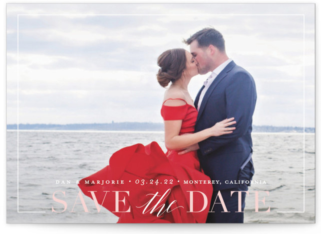 This is a landscape, portrait classic and formal, pink Save the Dates by Jessica Williams called Swell with Standard printing on Signature in Classic Flat Card format. Framed text on a full bleed photo.