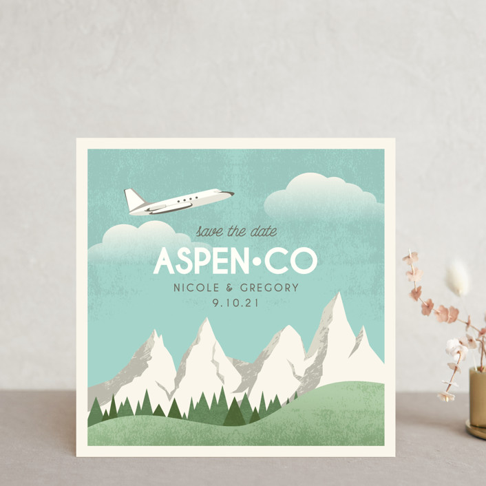 """Travel With Us"" - Save The Date Cards in Snow by Erin Niehenke."
