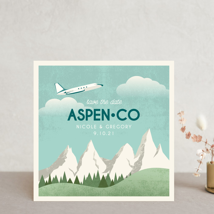"""Travel With Us"" - Save The Date Cards in Teal by Erin Niehenke."