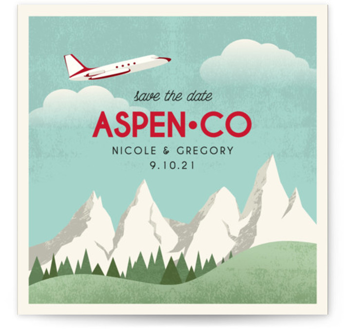 This is a square orientation illustrative, red Save the Dates by Erin Niehenke called Travel With Us with Standard printing on Signature in Classic Flat Card format. A save the date card inspired by vintage travel posters.