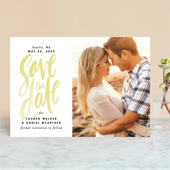 """Watercolor Lettering"" - Bohemian Save The Date Cards in Buttercup by Alethea and Ruth."