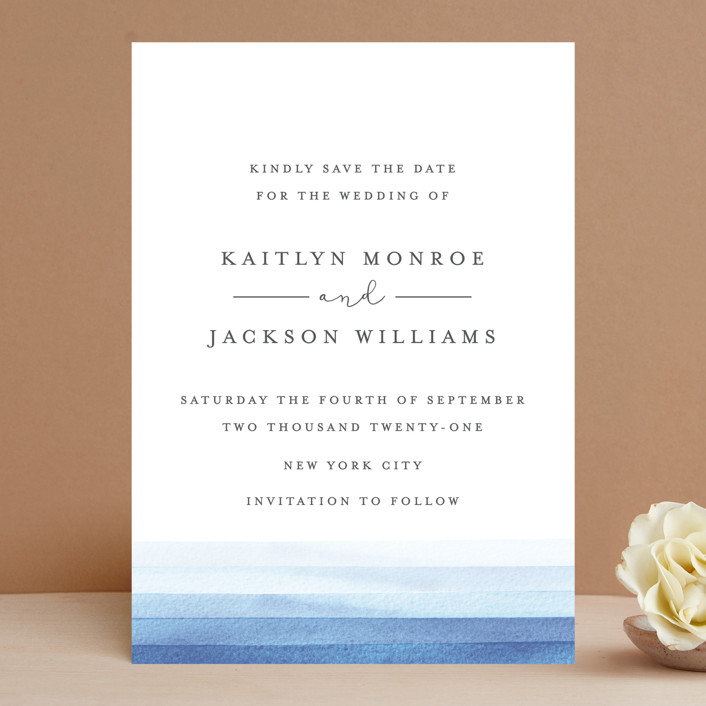 """Watercolour Stripe"" - Save The Date Cards in Ocean by Bethan."