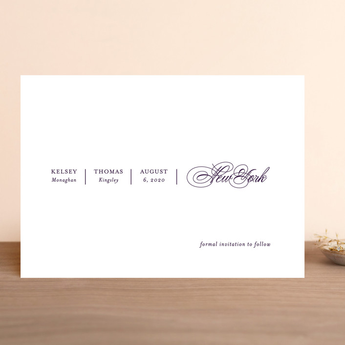 """White Space"" - Save The Date Cards in Noir by Kimberly FitzSimons."