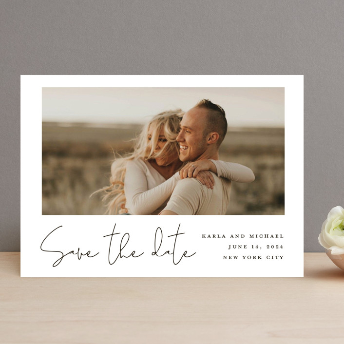 """Scripted Style"" - Save The Date Cards in Cloud by Katherine Moynagh."