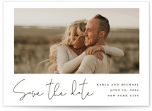 This is a white save the date by Katherine Moynagh called Scripted Style with standard printing on signature in standard.
