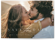 This is a white save the date by Kristie Kern called Elation with standard printing on pearlescent in standard.