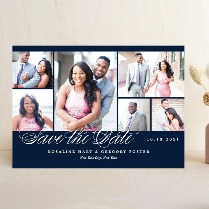 """Photo Block"" - Save The Date Cards in Night Sky by Jill Means."