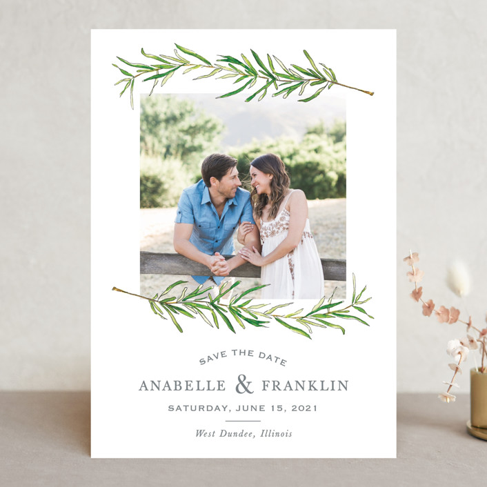 """""""Simple Sprigs"""" - Save The Date Cards in Cloud by Erin Deegan."""