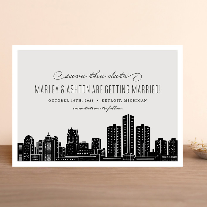 """Big City - Detroit"" - Save The Date Cards in Light Taupe by Hooray Creative."