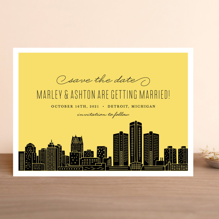"""""""Big City - Detroit"""" - Save The Date Cards in Light Taupe by Hooray Creative."""