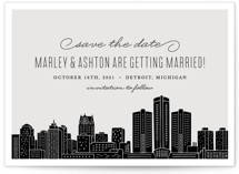 This is a grey save the date by Hooray Creative called Big City - Detroit with standard printing on signature in standard.