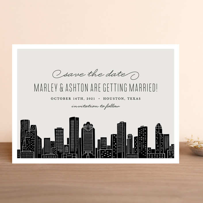 """Big City - Houston"" - Save The Date Cards in Light Taupe by Hooray Creative."