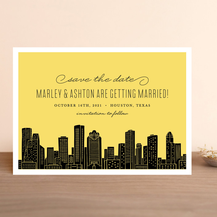 """""""Big City - Houston"""" - Save The Date Cards in Light Taupe by Hooray Creative."""