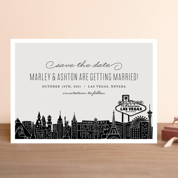 """Big City - Las Vegas"" - Save The Date Cards in Light Taupe by Hooray Creative."