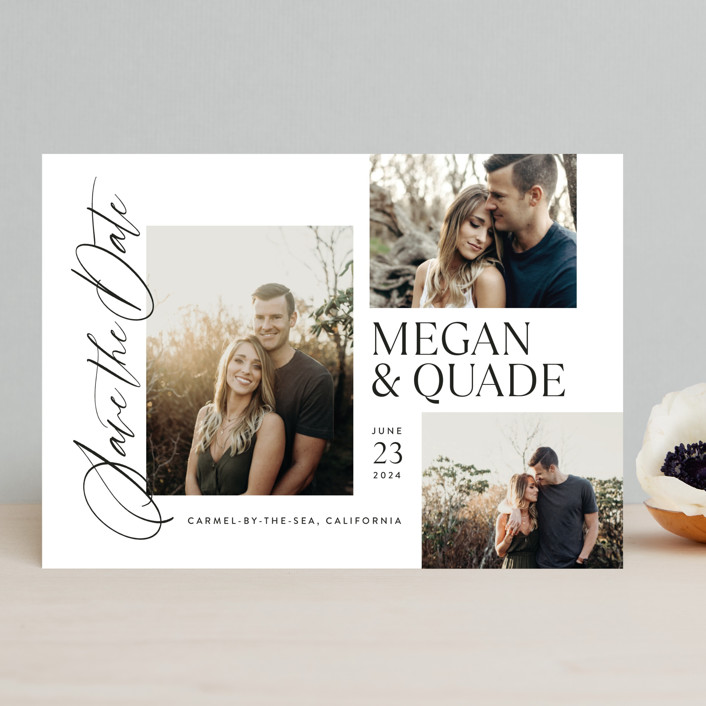 """""""Editorial Trio"""" - Save The Date Cards in Snow by Jill Means."""