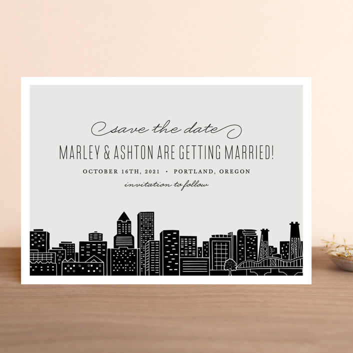 """Big City - Portland"" - Save The Date Cards in Light Taupe by Hooray Creative."
