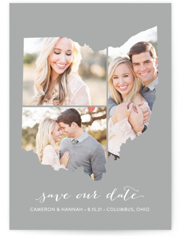This is a portrait illustrative, grey Save the Dates by Heather Buchma called Ohio Love Location with Standard printing on Smooth Signature in Classic Flat Card format.