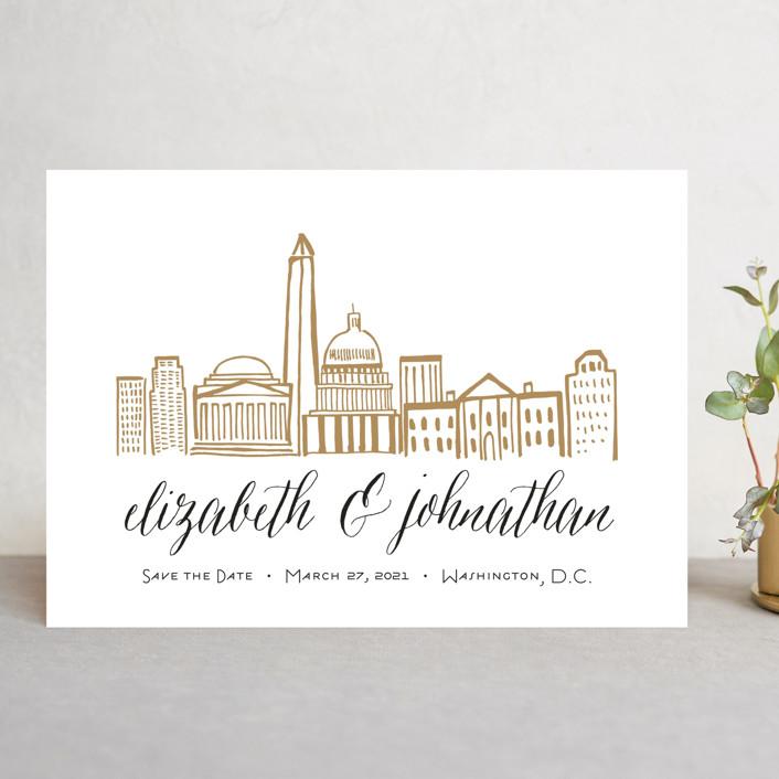 """Skyline - Washington DC"" - Save The Date Cards in Gold Coast by Abby Munn."
