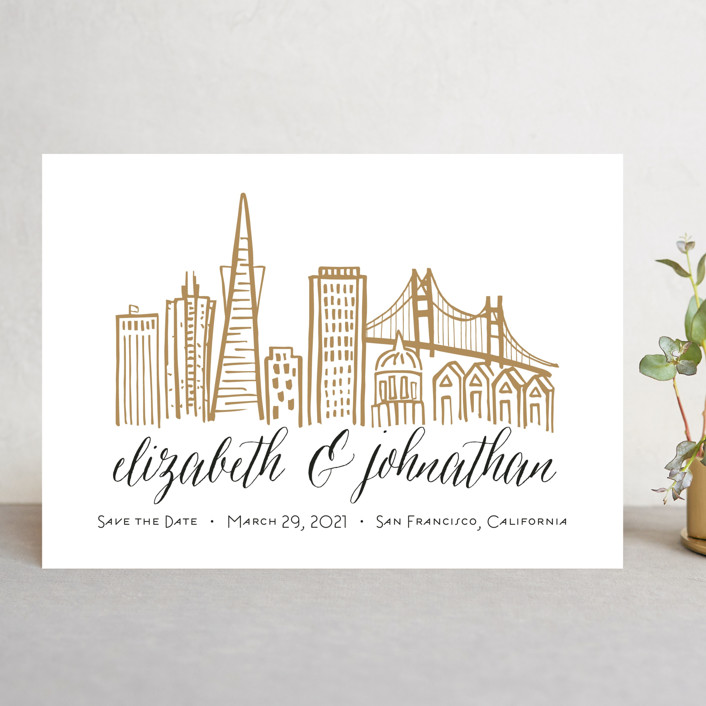"""""""Skyline - San Francisco"""" - Save The Date Cards in Gold Coast by Abby Munn."""