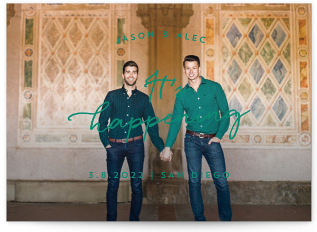 This is a landscape, portrait simple and minimalist, green Save the Dates by Anna Elder called It's Happening with Standard printing on Smooth Signature in Classic Flat Card format. A full bleed photo with a straight and forward message.