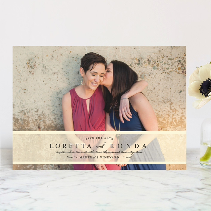 """Clean Linen"" - Save The Date Cards in Cream by Lori Wemple."