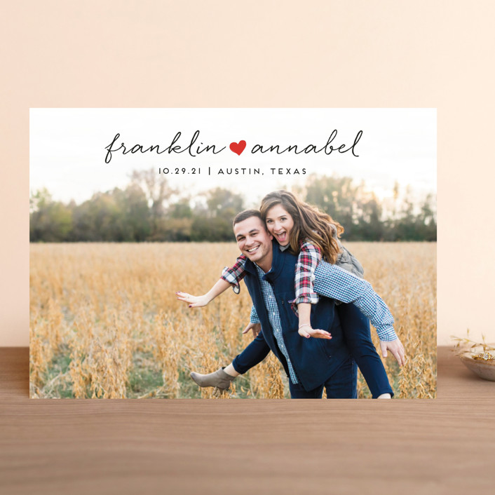 """Sidewalk Love"" - Save The Date Cards in Heart by Jessica Corliss."
